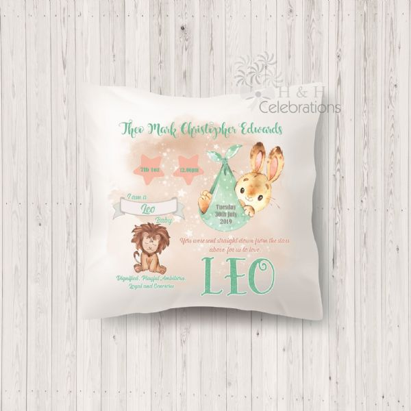 Leo - Baby Star Sign Keepsake Cushion
